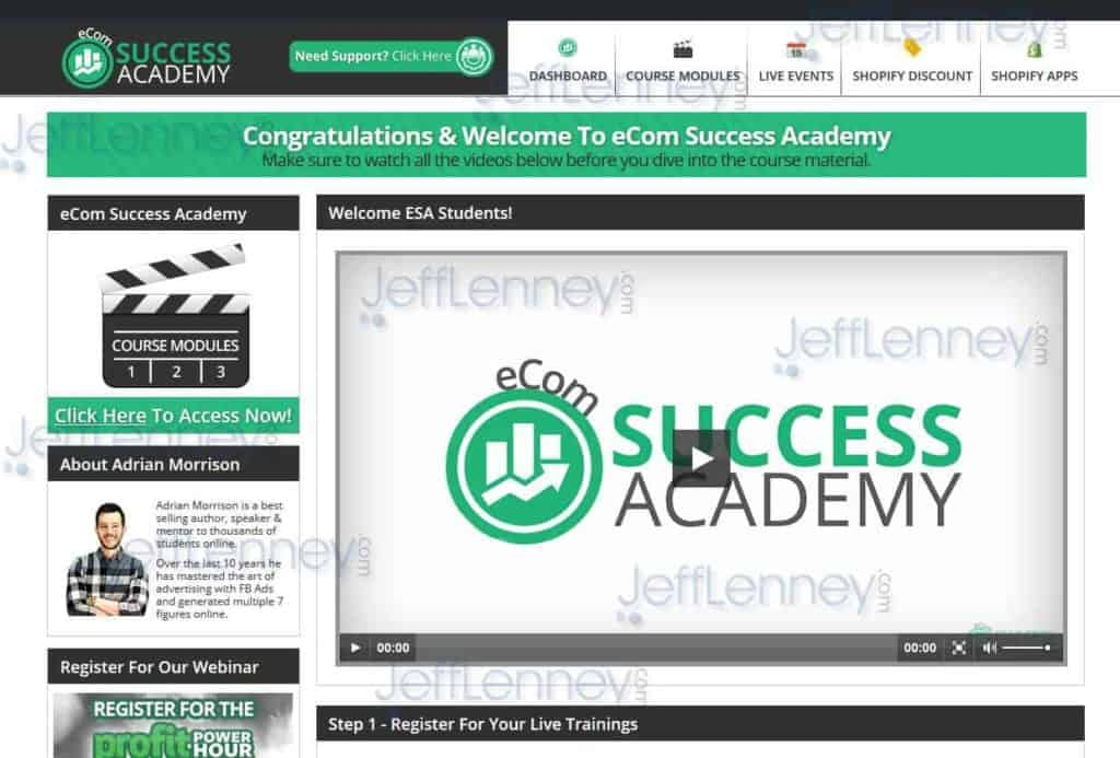 eCom Success Academy Members Area