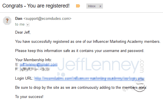 Influencer Marketing Academy Registration Email