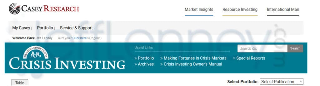 Crisis Investing, Doug Casey, Members Area