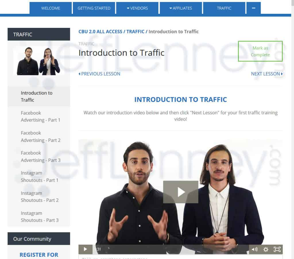 Clickbank University : Section Traffic