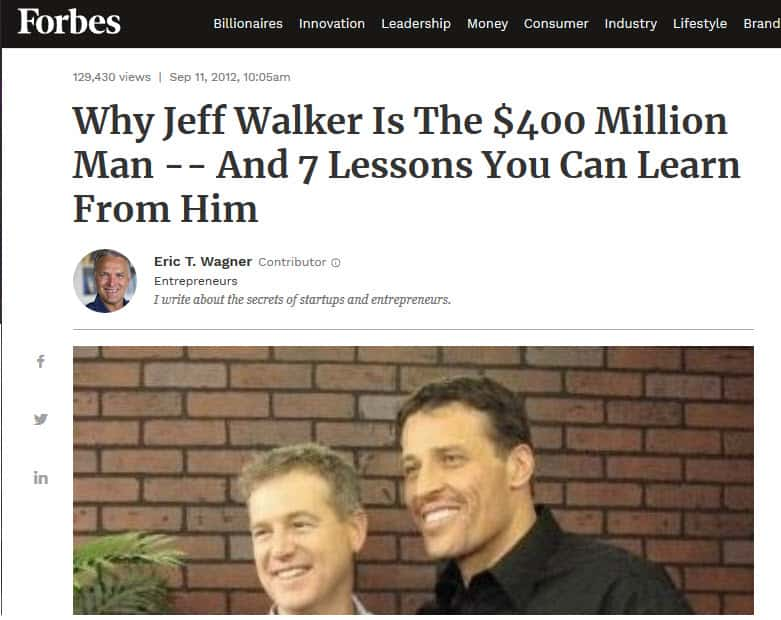 Jeff Walker, Creator of PLF, Forbes Magazine