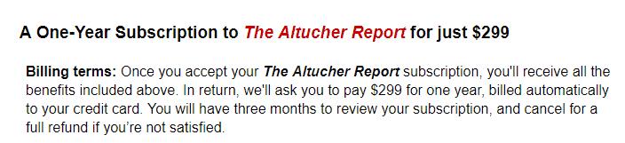 The Altutcher Report Cost