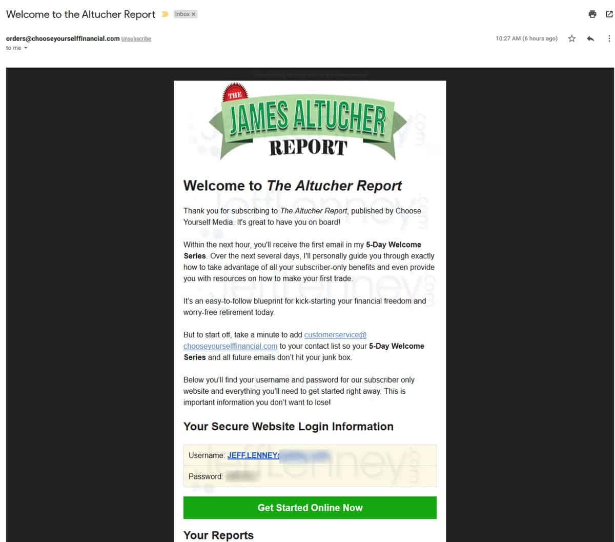 The Altucher Report Welcome Email