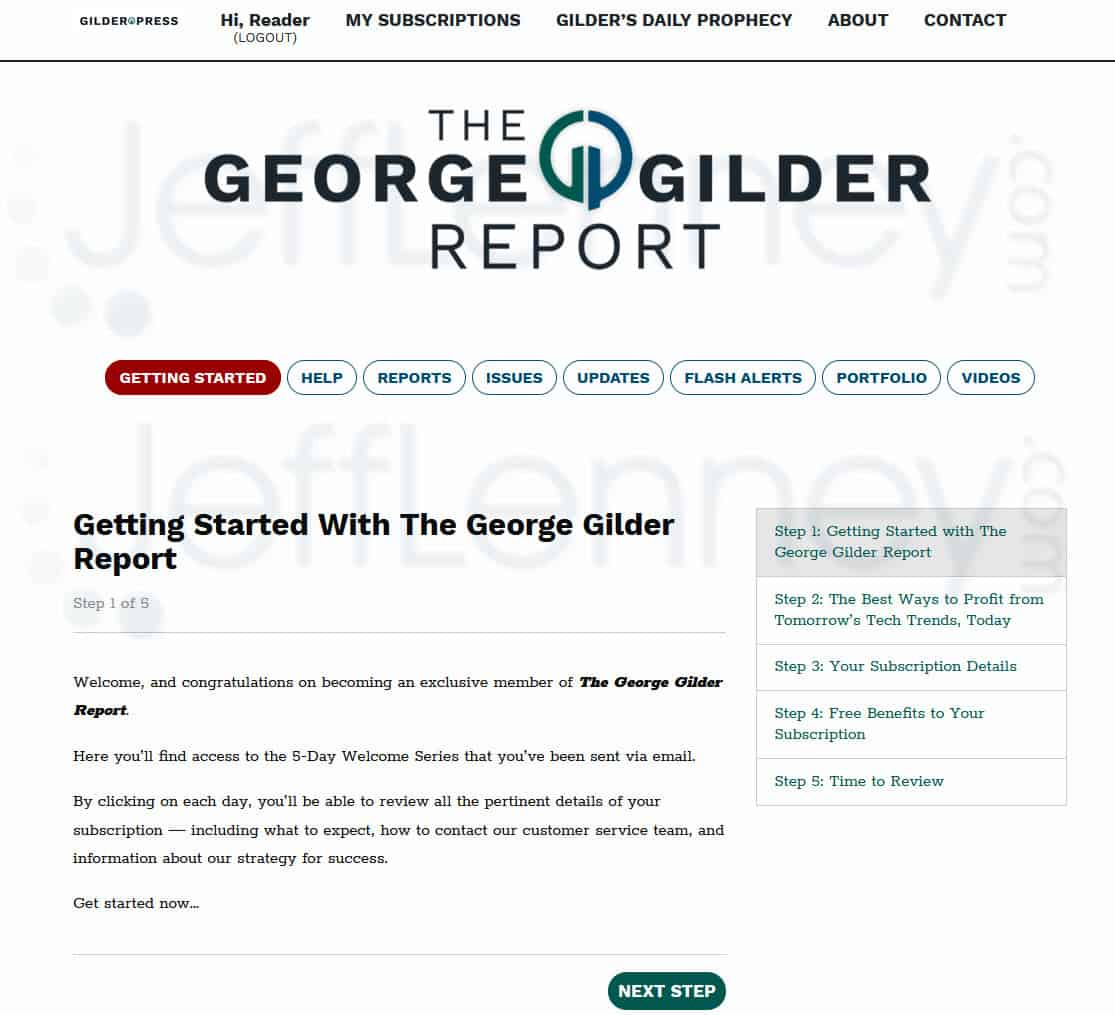 The George Gilder Report Members Area