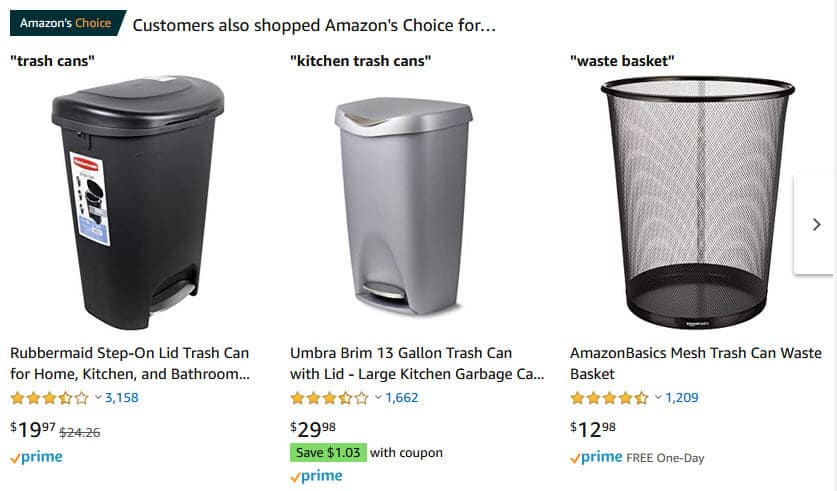 Trash Cans on Amazon