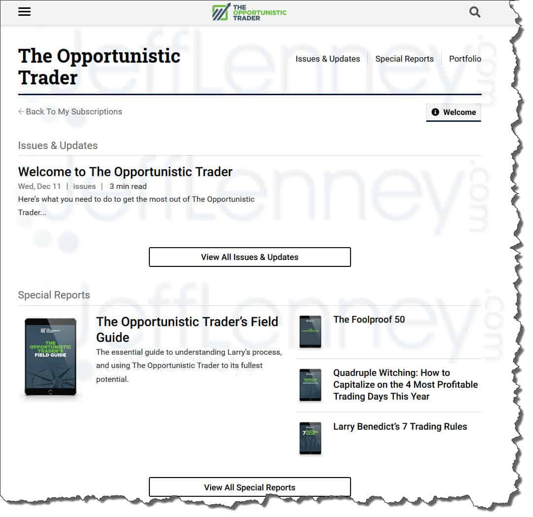 The Opportunistic Trader Members Area
