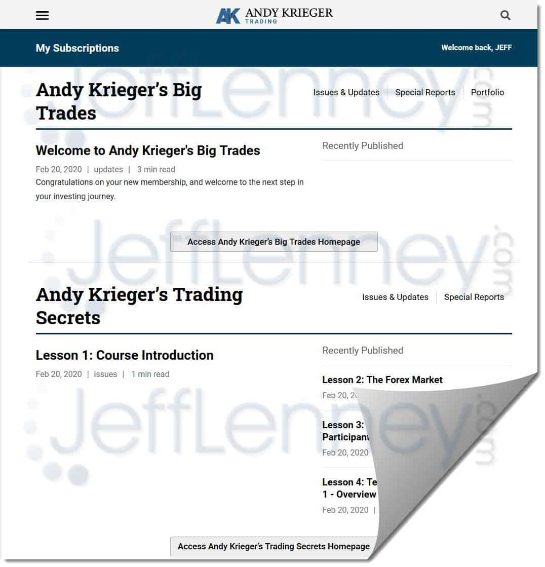 Andy Krieger's Big Trades Members Area
