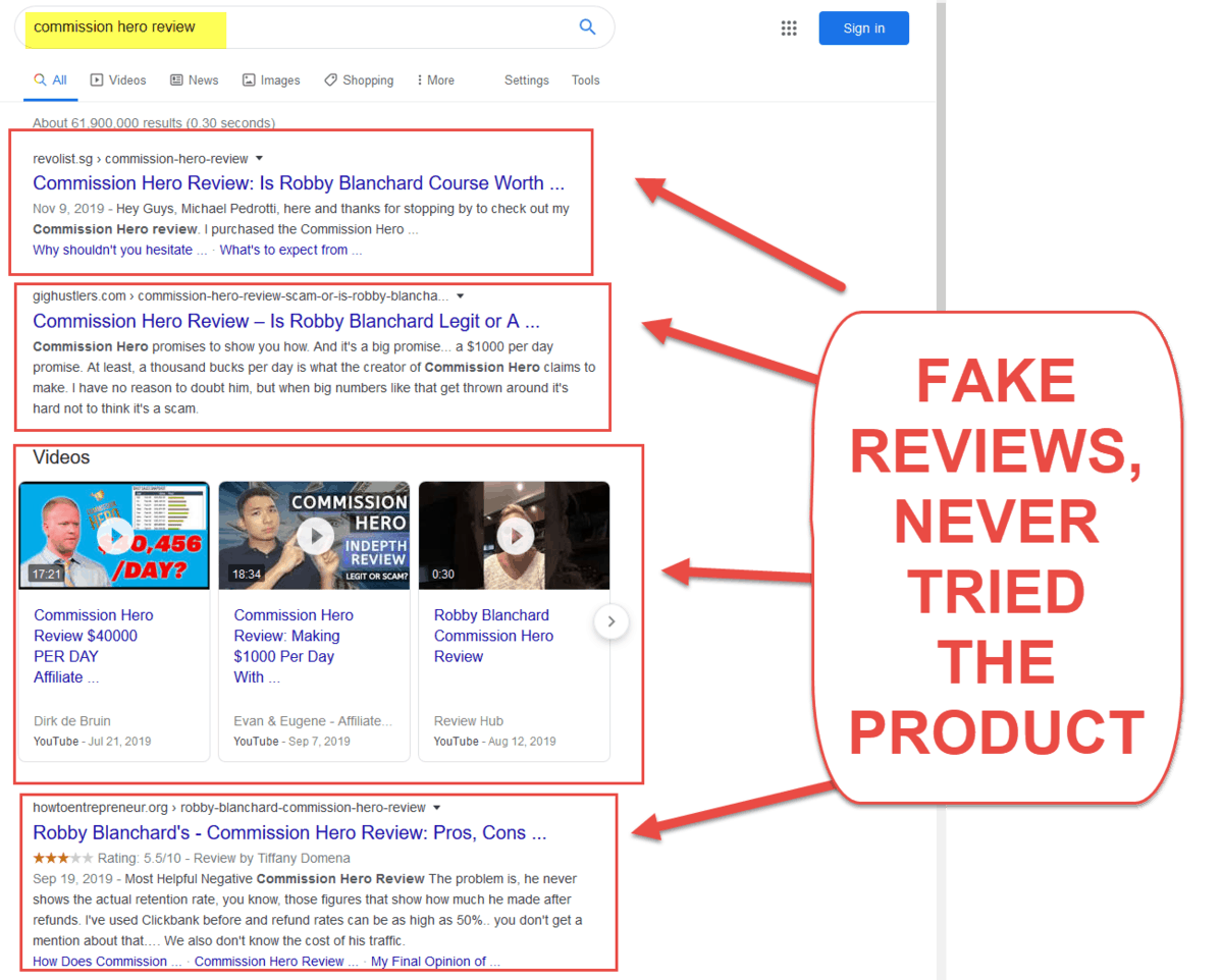 Commission Hero Fake Reviews