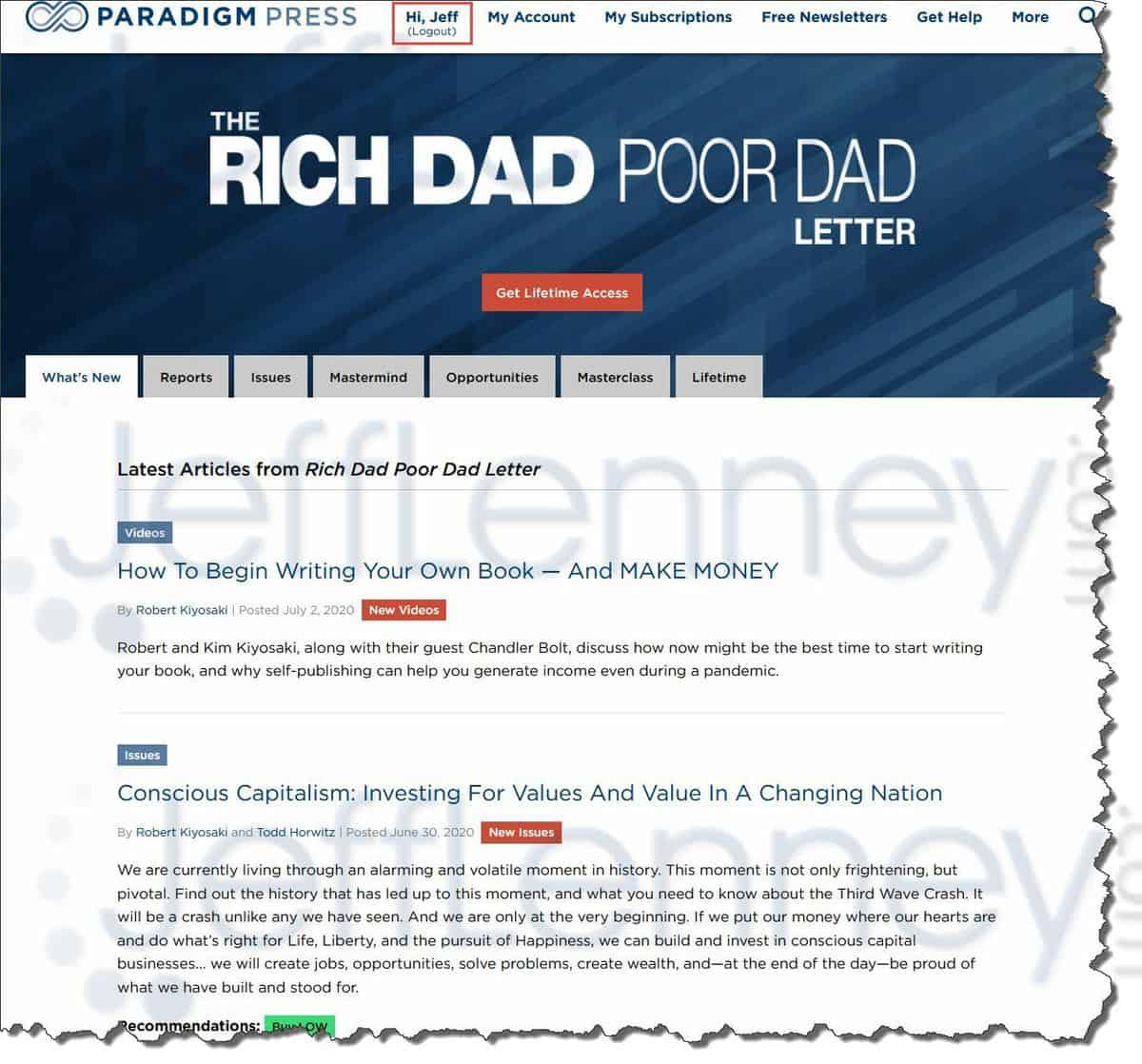 Rich Dad Poor Dad Letter Members Area