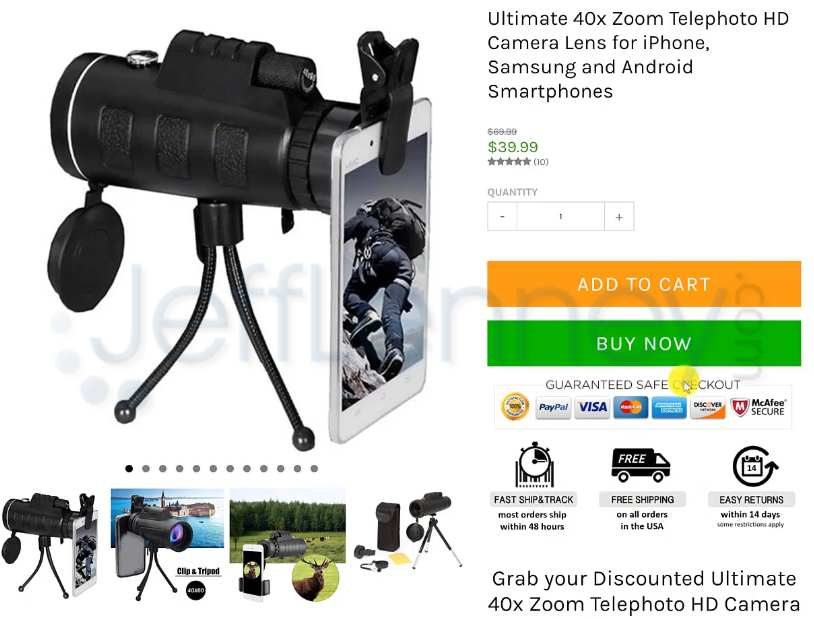Kibo Code Camera Lens Product Example